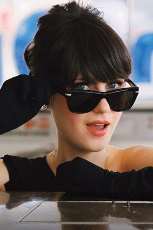 zooey. gloves and glasses