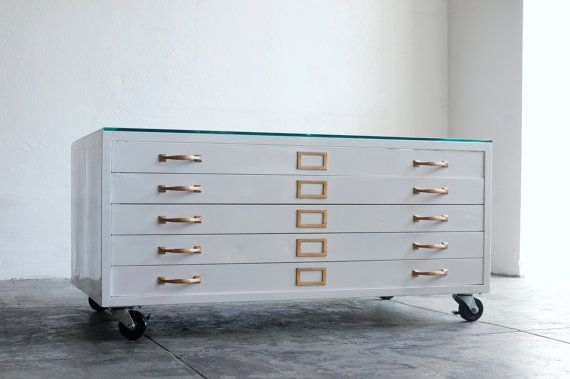 Flat File Cabinet Coffee Table Refinished in High Gloss White with Brass Hardware