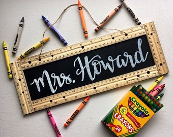 Personalized Teacher Sign  Gift  School  Ruler  Chalkboard