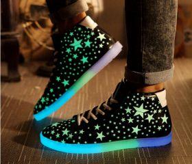 plataforma noctilucentes zapatos luminosos zapatillas de deporte del top del alto de hombres y mujeres brillan en las zapatillas de deporte oscuras