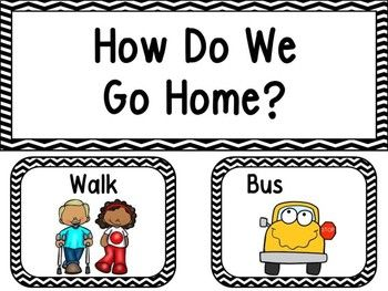 Make a How Do We Go Home clip chart for your class. This product includes Header, walk, car, day care van, tutoring, and 6 bus cards that you can laminate and write a bus number on. You can see them all in the thumbnails. Use little clothespins with kids names on them and have your
