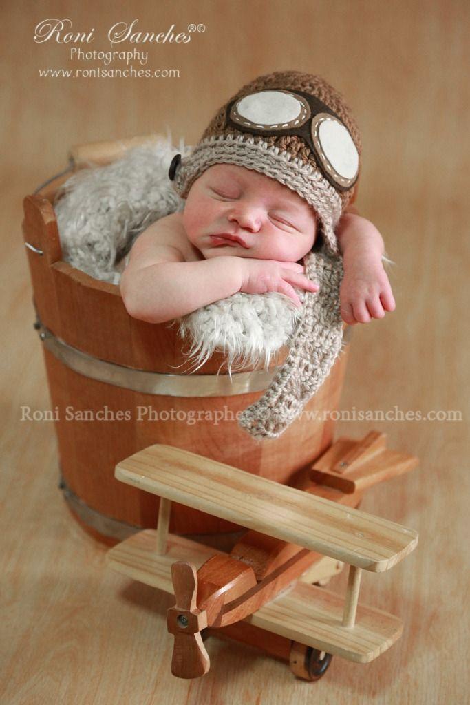 Touca Aviador Em Crochê - Gorro - Bebê (newborn Props) - R$ 44,95 no MercadoLivre