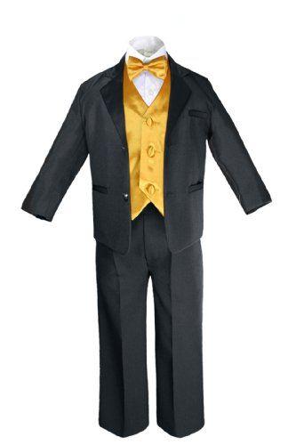Unotux 7pcs Boys Black Suits Tuxedo with Satin Yellow Bow Tie Vest Set (S-20) - https://fashionshop101.com/product/unotux-7pcs-boys-black-suits-tuxedo-with-satin-yellow-bow-tie-vest-set-s-20/