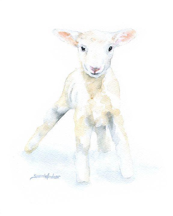 Little white lamb watercolor painting print. Nursery art idea. Baby animals