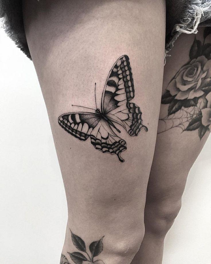 Butterfly http://tattooideas247.com/butterfly-thigh/