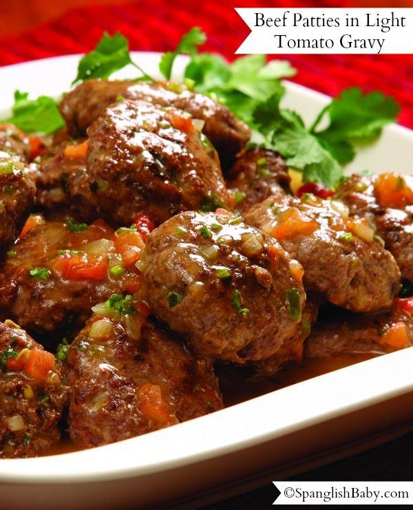 Beef Patties in Light Tomato Gravy | Tortitas de Carne en Salsa de Tomate | SpanglishBaby™