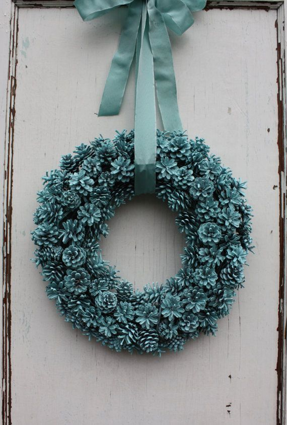 Painted Pinecone Wreath Robins Egg Blue by TheTangledTreehouse