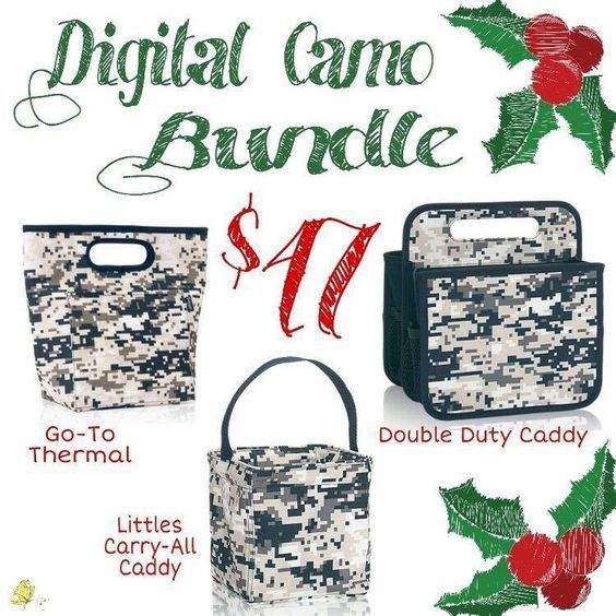 Thirty-One Gifts – Digital Camo Bundle #ThirtyOneGifts #ThirtyOne #Monogramming #Organization #DecemberSpecial #YourWayBin #MiniZipperPouch #StyleSleeve #GoToThermal #CatchAllBin