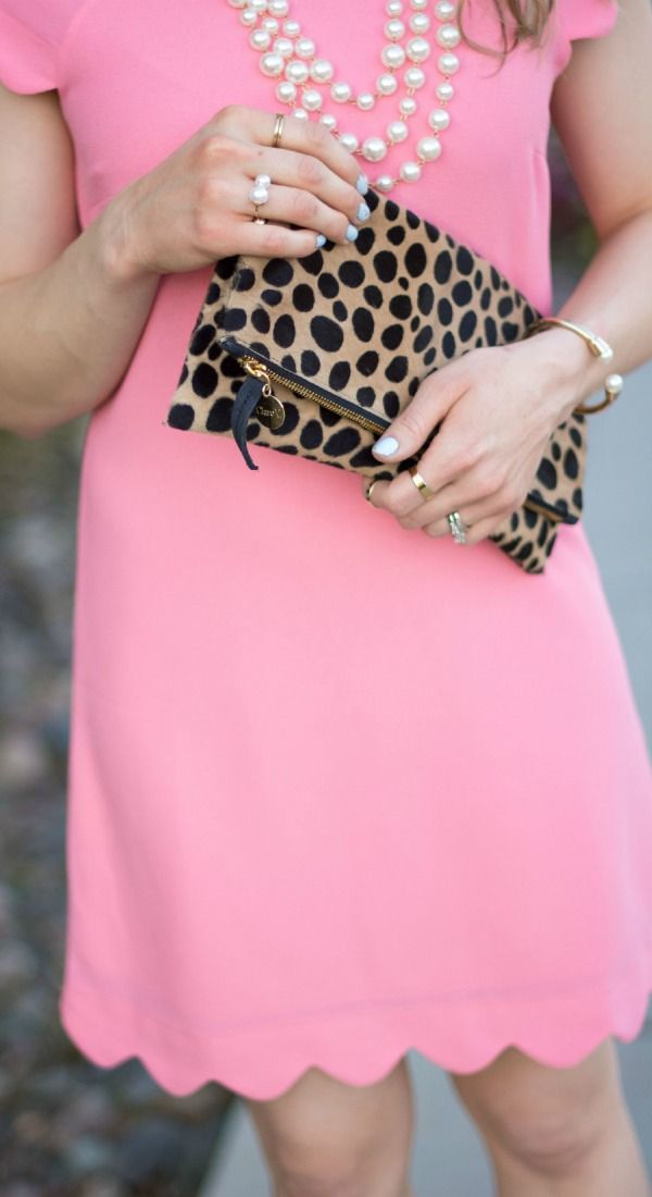Outfit of the day :: coral scallop dress, pearl necklace and clare vizier leopard fold over clutch via @glamourzine