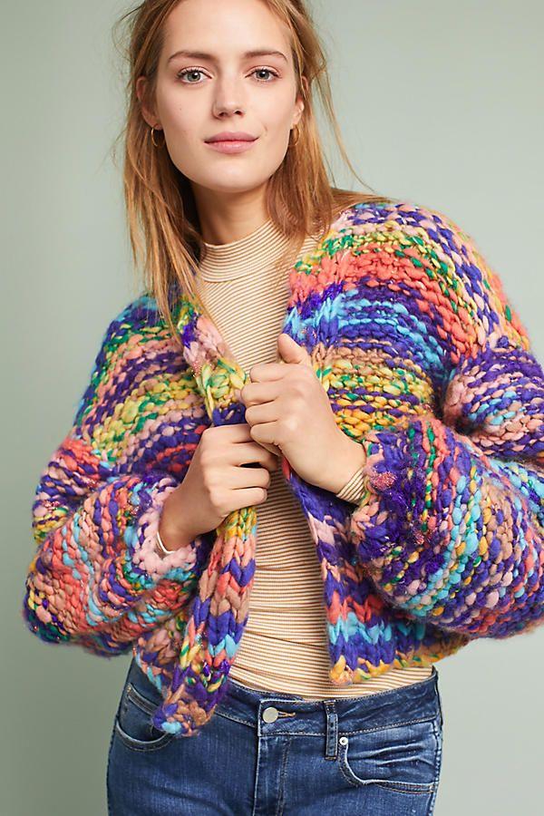 rainbow hand knit cardigan ad anthrofave anthroregistry