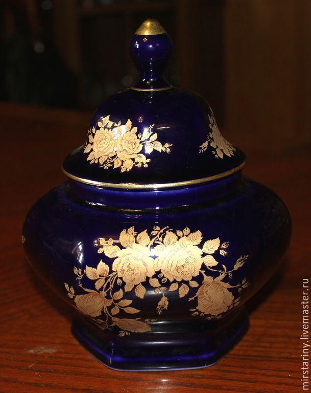 5f505fd954b420f6e32f9ab8cfrp--materialy-dlya-tvorchestva-krasivaya-kobaltovaya-vaza.jpg (609×768)  Винтажная посуда. Красивая кобальтовая ваза с крышкой фирмы Bareuther, Германия. Мир Старины.