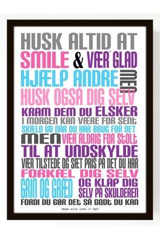 Plakat Husk (A4) - multifarvet