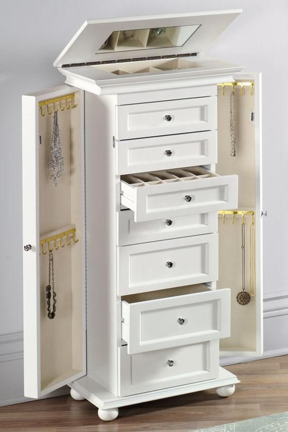 Our Hampton Bay Jewelry Armoire Has Ample Storage For Your Collection It Features Four Small And Three Large Drawers A Lift Top Compartment With Mirror