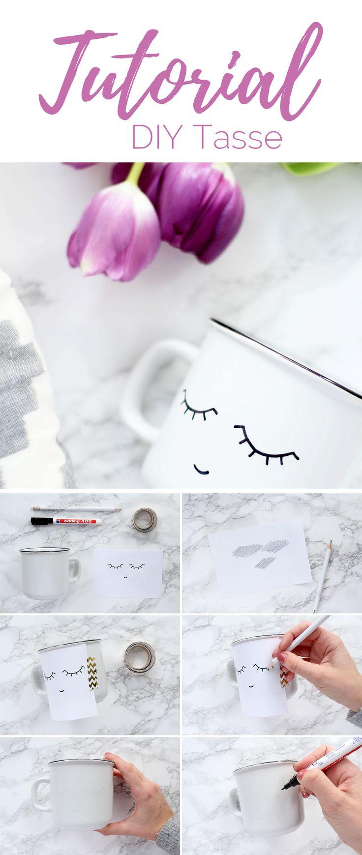 DIY Tasse mit Klimperwimpern