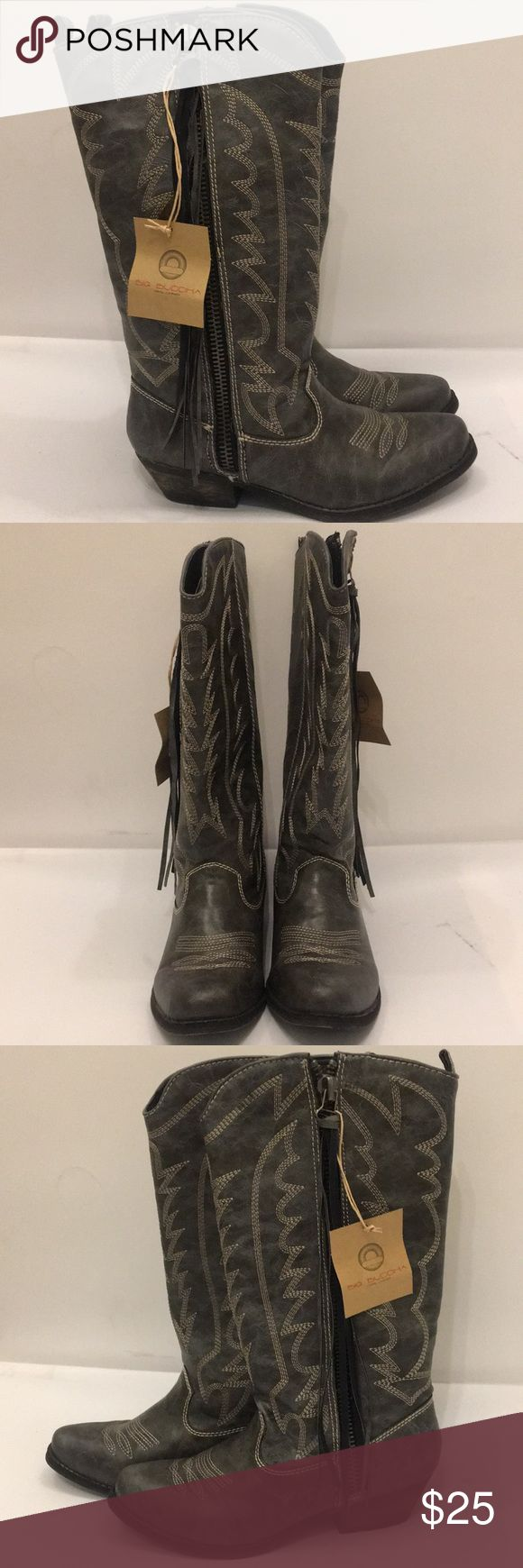 Big Buddha cowboy boots with fringe zipper Black cowboy boots with fringe tassel zippers Big Buddha Shoes Heeled Boots