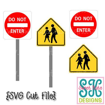 Do Not Enter & Pedestrian Signs SVG {Can be a Scrapbook Die Cut or Heat Transfer Vinyl Cut} - Instant Download with JPG