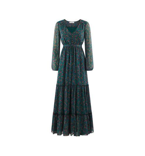 Longue robe imprimée Femme imprimé vert - Promod