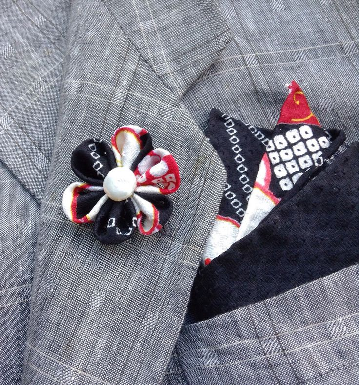Custom Lapel Pins Mens Lapel Pin Flower Lapel Pin Pocket Square Set Black White Red Boutonniere Gift For Him Handkerchief Kanzashi Brooch by exquisitelapel on Etsy https://www.etsy.com/listing/539305886/custom-lapel-pins-mens-lapel-pin-flower