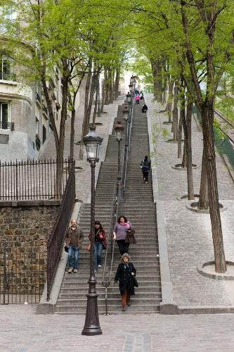 Montmarte's iconic staircase in Paris. Much easier stepping down!