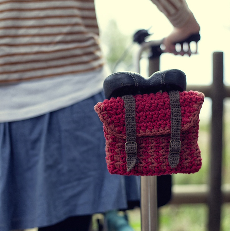 crochet under-seat bike pack