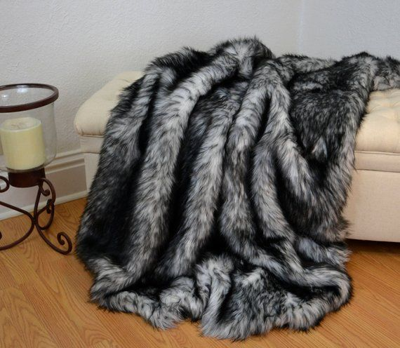 Black And White Faux Fur Blanket Throw Faux Fur Blanket Faux Wolf Fur Throw Fur Bedding Lap Bla Fur Bedding Fur Blanket White Faux Fur Blanket
