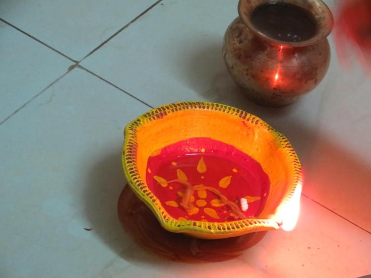 pooja time..we light d diya and pray to god!