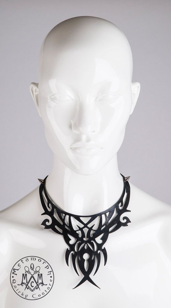 Leather bib necklace Cut out black leather filigree by MetamorphDK