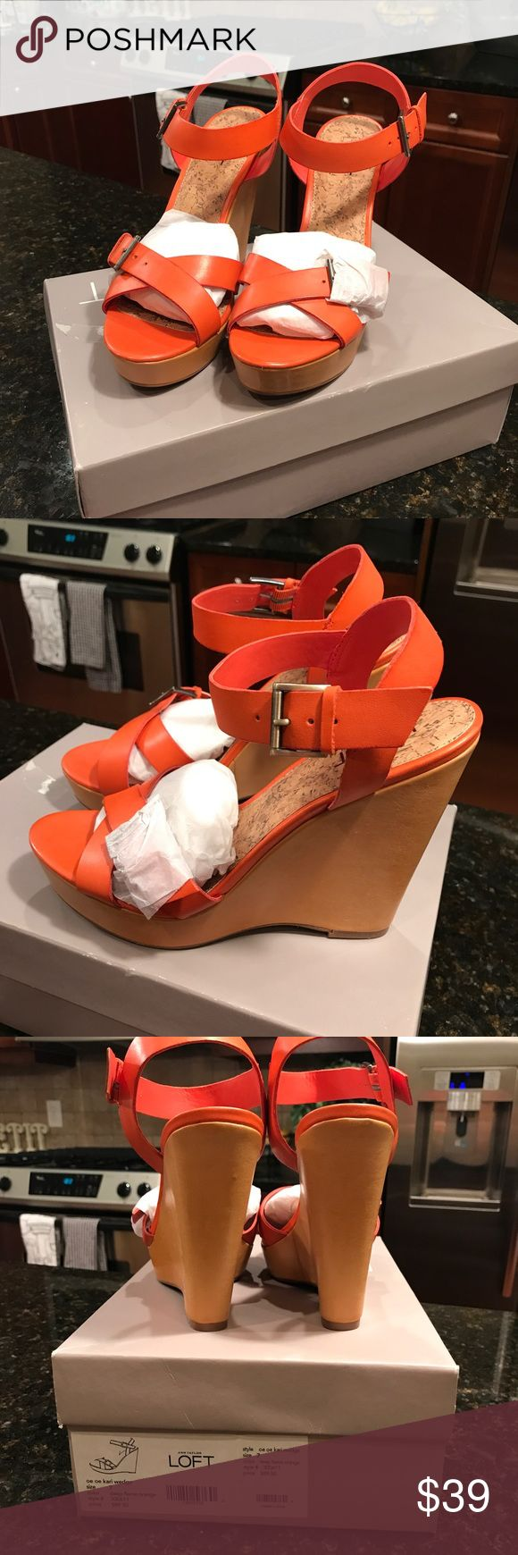 NWT Loft wedges size 7 Orange wedge sandals purchased from Loft. Never worn... in original packaging LOFT Shoes