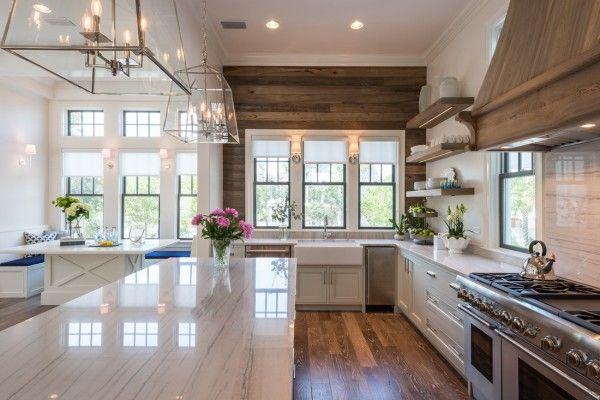 Wow - love this white kitchen with the perfect mix of rustic wood - take the full tour eclecticallyvintage.com
