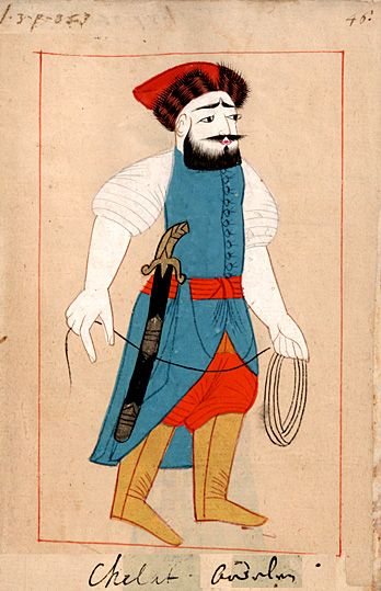 "Executioner  with strangulation rope.  ""Chelat - Bödeln"". The 'Rålamb Costume Book' is a small volume containing 121 miniatures in Indian ink with gouache and some gilding, displaying Turkish officials, occupations and folk types. They were acquired in Constantinople in 1657-58 by Claes Rålamb who led a Swedish embassy to the Sublime Porte, and arrived in the Swedish Royal Library / Manuscript Department in 1886."