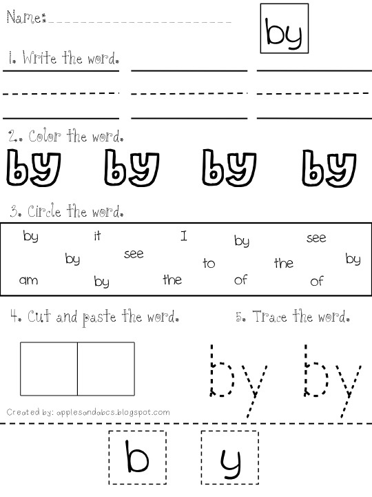 Sight Word Practice Sheets Word Search Option Sight Word