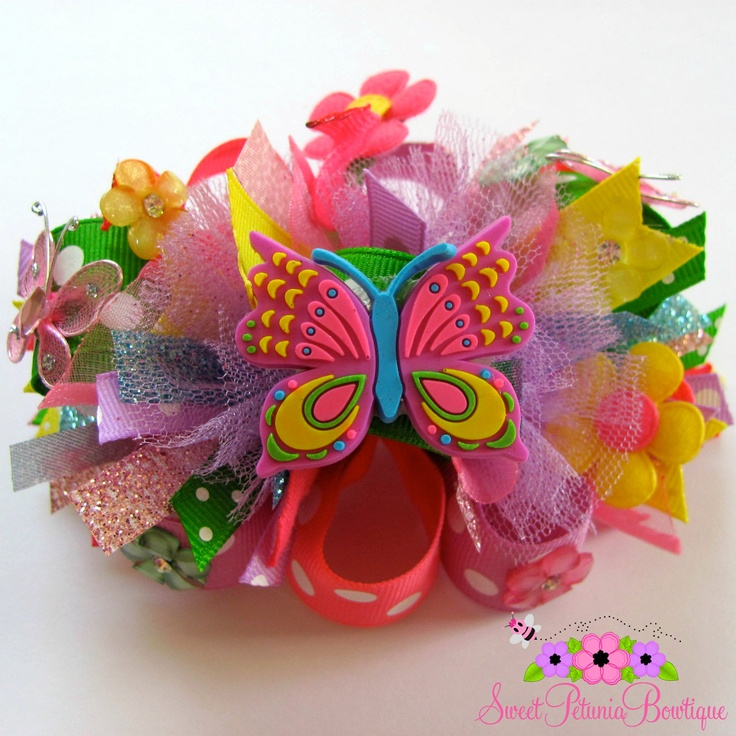 Hair Bows For Sale | SALE Summer Butterfly Funky Loopy Hair Bow by sweetpetuniabowtique
