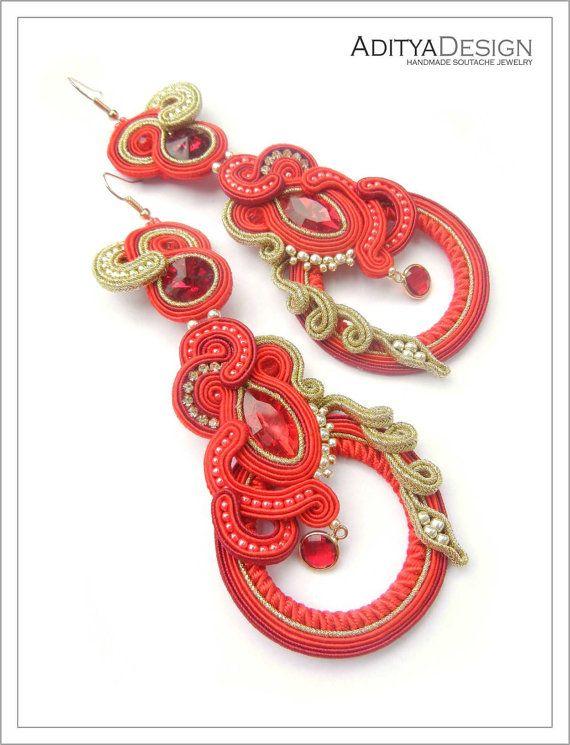 Soutache Earrings Red Gold Red Earrings Handmade by AdityaDesign
