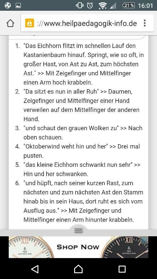 Eichhorn Fingerspiel