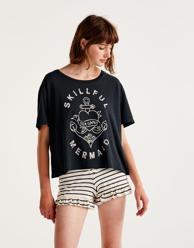 Anchor print T-shirt - T-shirts - Clothing - Woman - PULL&BEAR Thailand