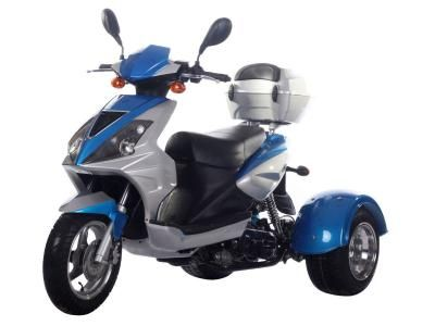 TRI008 50cc Trike Automatic Transmission, Air Cooled, Differential Gears, Front/Rear Disc Brakes, Aluminum Rims, Trunk, Tow Hitch included, Metallic Paint, U.S.Patented $1649.00