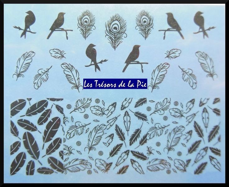 STICKERS ONGLES WATER DECAL (x22) - Nail art - Plumes & oiseaux - Noir