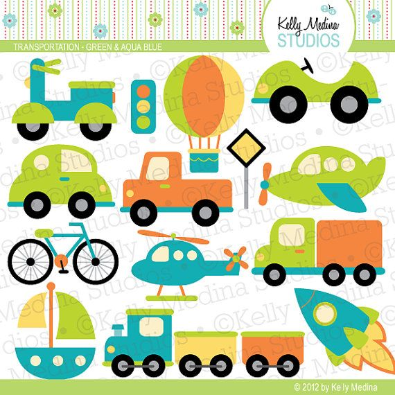 Transportation Green and Aqua Blue  Clip Art by Kellymedinastudios, $5.00