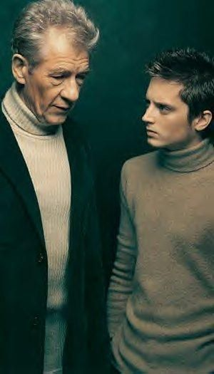 Elijah Wood and Sir Ian McKellen (Frodo and Gandalf)... Turtlenecks, this is a gem