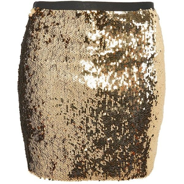 TopShop Sequin Mini Skirt ($85) ❤ liked on Polyvore featuring skirts, mini skirts, gold, party skirts, short mini skirts, short a line skirt, brown mini skirt and going out skirts
