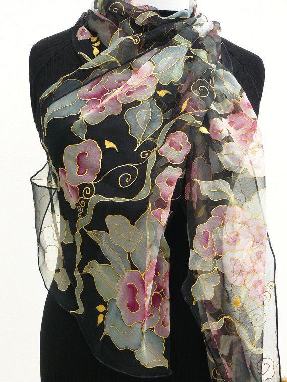 Retro stylish black silk scarf pink flowers gray gold. by Irisit