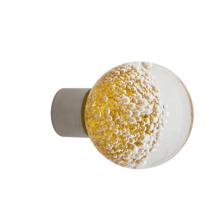 Bouton de meuble gamme séduction microbulles jaune topaze  Fait main