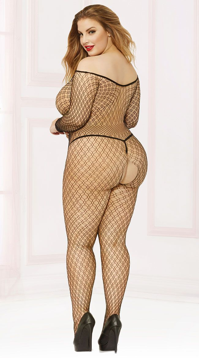 ab2e061bc6 Plus Size Off-The-Shoulder Seamless Fishnet Bodystocking