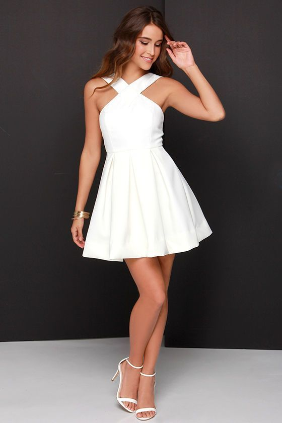 Pleats in a Pod Ivory Skater Dress at http://Lulus.com!