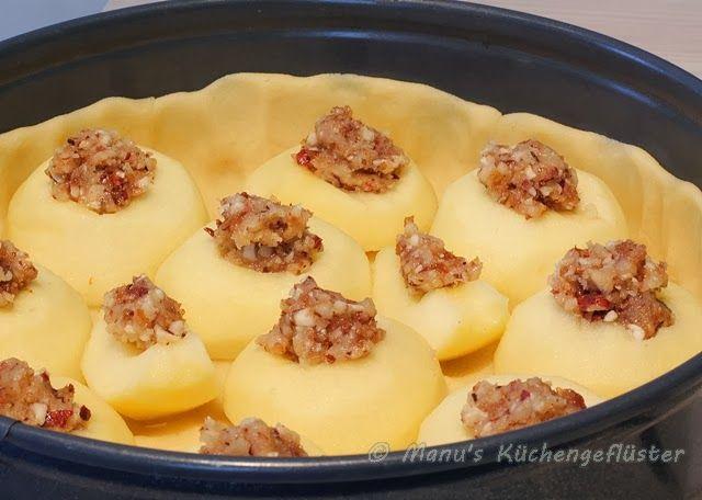 Bratapfelkuchen: Füllung vor dem Pudding machen und 15 Sek mixen. 5 Äpfel reichen aus.