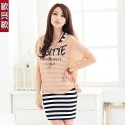 2012 Sommerkleidung neue Frauen koreanische Weste Bodenbildung Rock gestreiften Anzug Chiffon-Kleid der Bogen