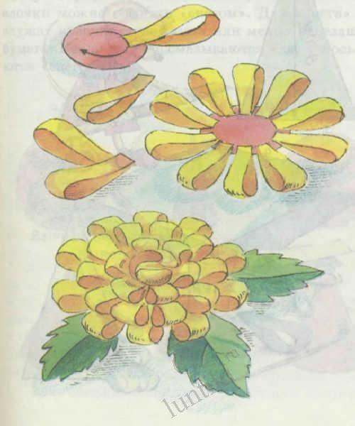 Řemesla z proužky barevného papíru - květiny
