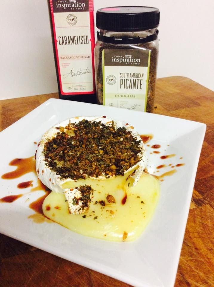 Score the top of your chosen cheese, add a good tablespoon of YIAH South American Picante Dukkah and microwave for 30 seconds .. Drizzle over YIAH Caramelised Balsamic Vinegar and serve with melba toasts or crunchy bread