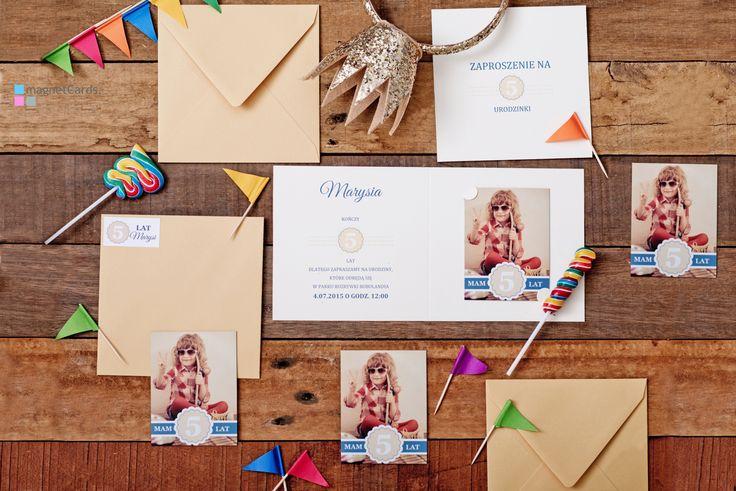 Zaproszenie na 5 urodzinki w formie magnesu w okładce podwójnej