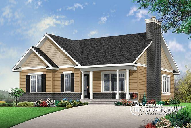 Vue avant Plain-pied champêtre avec 2 chambres, aire ouverte, foyer au séjour et grand îlot à la cuisine - Bradley 2